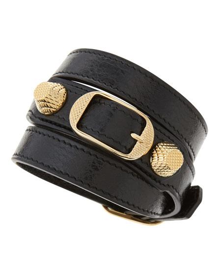 Giant 12 Yellow Golden Leather Wrap Bracelet Black