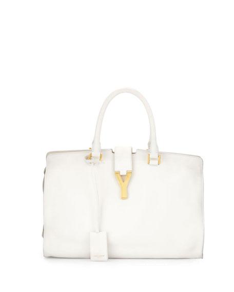 e613e1ee34 Saint Laurent Classic Cabas Y-Ligne Medium Leather Carryall Bag, White