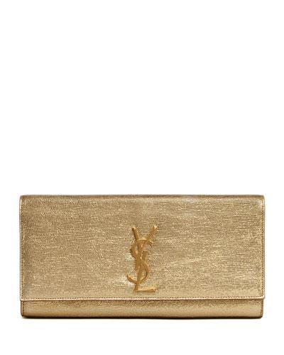 Cassandre Metallic Logo Clutch Bag, Golden