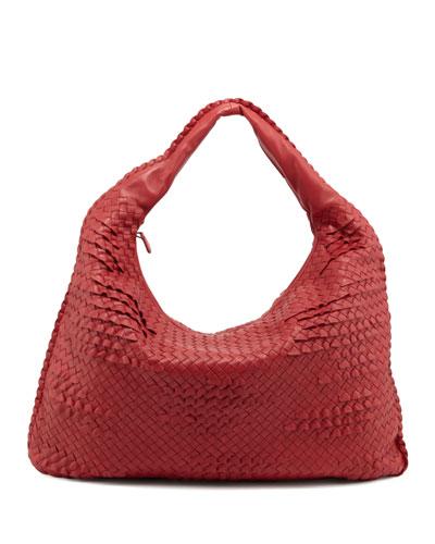 Maxi Veneta Ruffle Hobo Bag, Red
