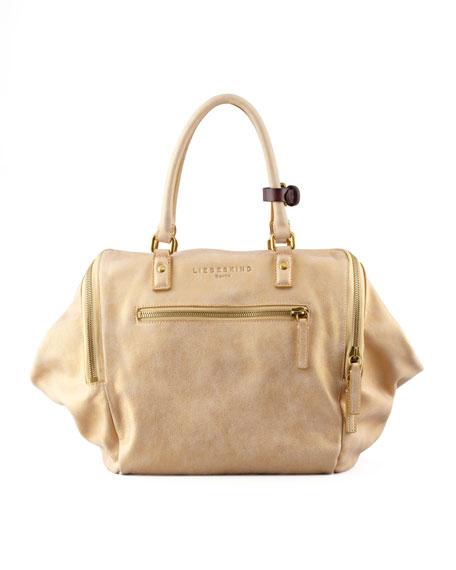 Kayla Metallic Satchel Bag Gold