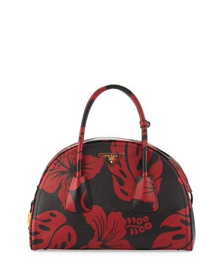 Prada Saffiano Hibiscus-Print Bowler Bag e968fd8618cc6