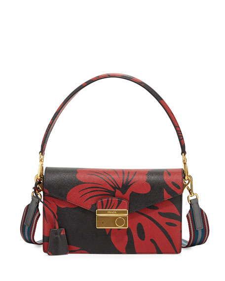 ea6da6a26719 Prada Hibiscus Saffiano Shoulder Bag, Red/Black (Rosso Dis.Ibiscus)