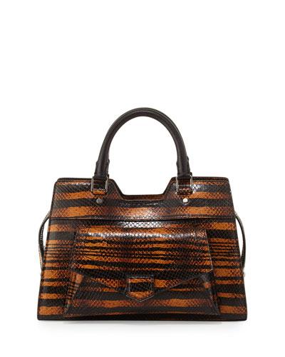 PS13 Striped Snake Satchel Bag, Orange/Black