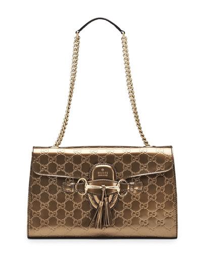 Emily Guccissima Leather Shoulder Bag, Bronze