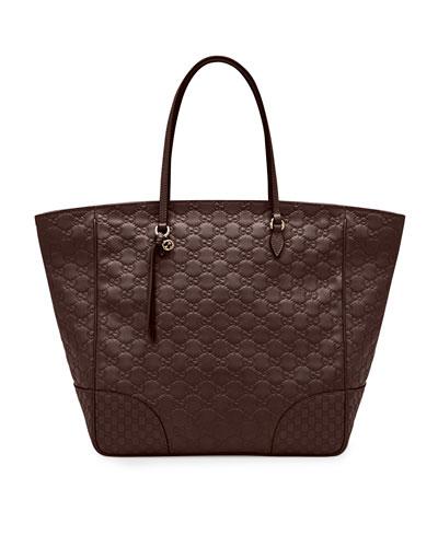 Bree Guccissima Leather Top-Handle Bag, Dark Brown
