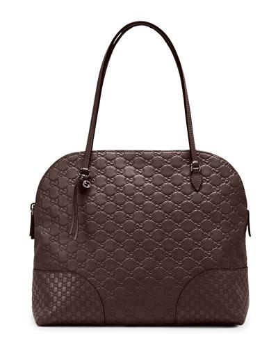 Bree Guccissima Leather Shoulder Bag, Dark Brown