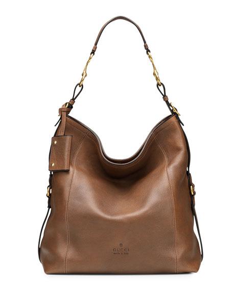 6ff8957d695b Gucci Harness Leather Hobo Bag, Tan