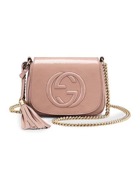 0b5922565 Gucci Soho Small Patent Leather Chain Shoulder Bag, Nude