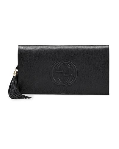Soho Leather Clutch Bag, Black