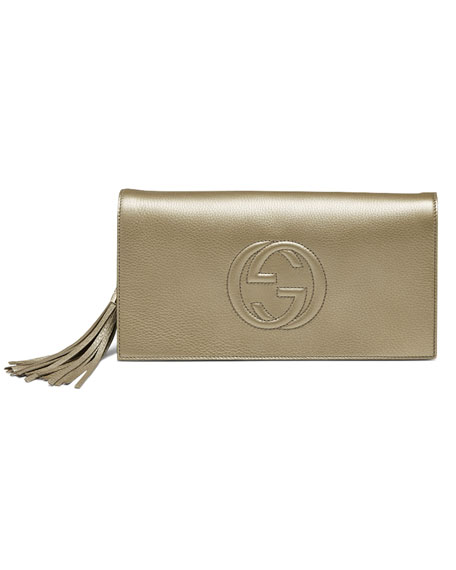e796631cf54 Gucci Soho Metallic Leather Clutch