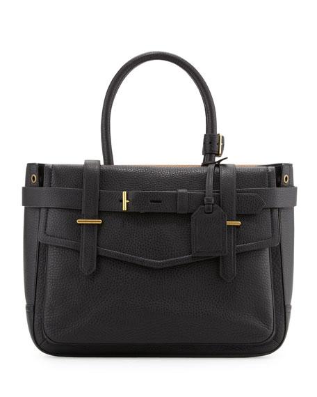 Boxer Pebbled Leather Tote Bag Black