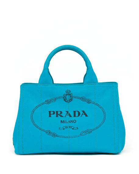 d45fe6f7359 Prada Canvas Mini Logo Tote with Strap, Turquoise (Pavone)