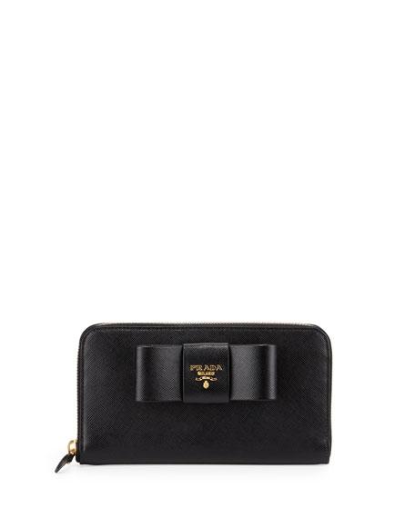 884e86ef793d Prada Saffiano Bow Zip Around Wallet, Black (Nero)