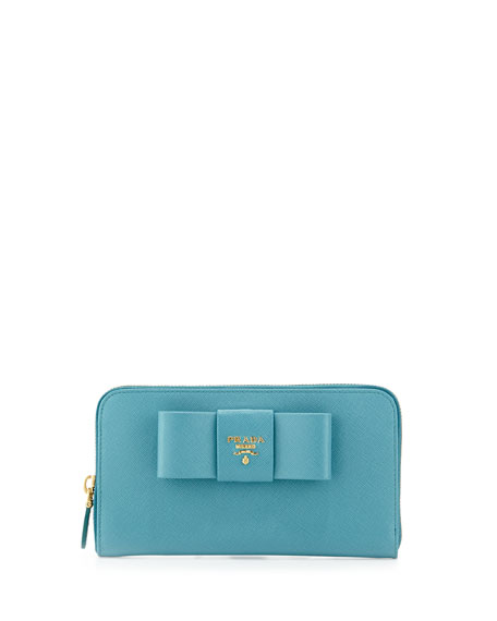 3ee029a9f9382b Prada Saffiano Bow Zip Around Wallet, Turquoise (Turquese)
