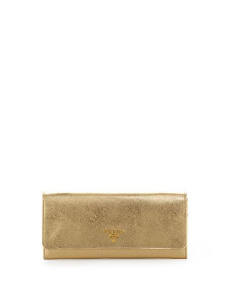 12df4f15e218 Prada Saffiano Metallic Wallet on Chain, Gold (Platino)