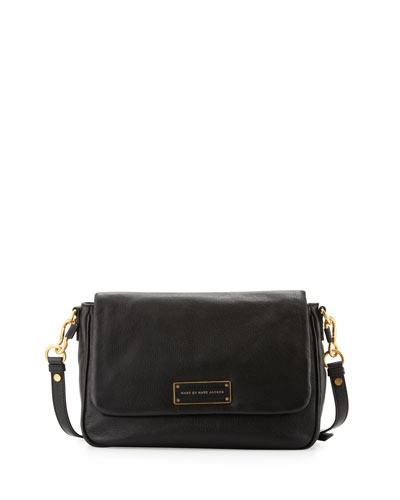 Too Hot to Handle Leather Crossbody Bag, Black