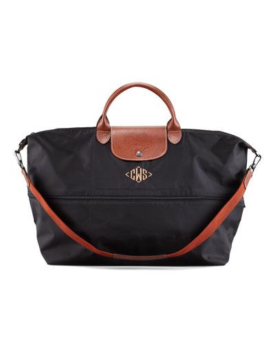 Le Pliage Monogrammed Expandable Travel Bag, Black