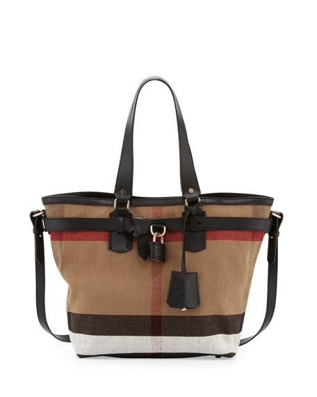 7357efea3523 Burberry Brit Check Canvas Padlock Tote Bag