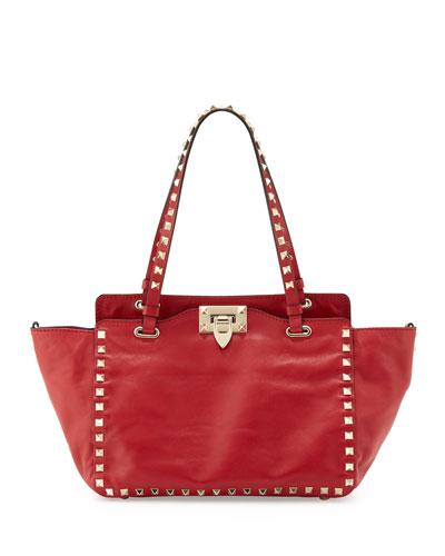 Rockstud Mini Tote Bag, Red