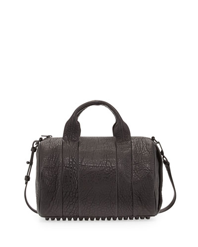 Rocco Dumbo Stud-Bottom Satchel Bag, Black