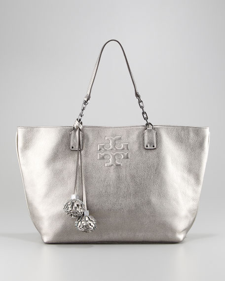 f812a00d644f Tory Burch Thea Leather Metallic Tote Bag