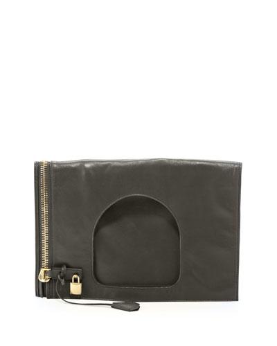 Alix Leather Padlock & Zip Shoulder Bag, Green
