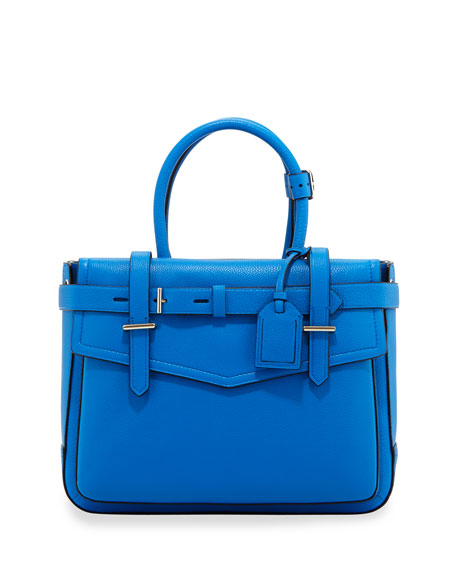 Boxer Pebbled Leather Tote Bag Blue
