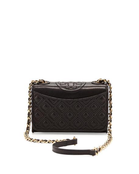 Fleming Quilted Mini Flap Shoulder Bag Black