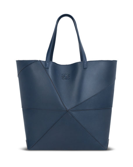 Lia Origami Leather Tote Bag Light Blue