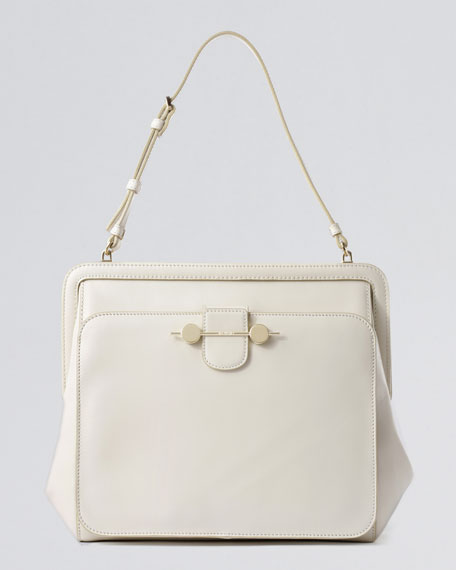 Daphne Leather Shoulder Bag Ivory