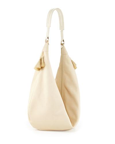 Sling 15 Horsehair-Tassel Hobo Bag, Neutral