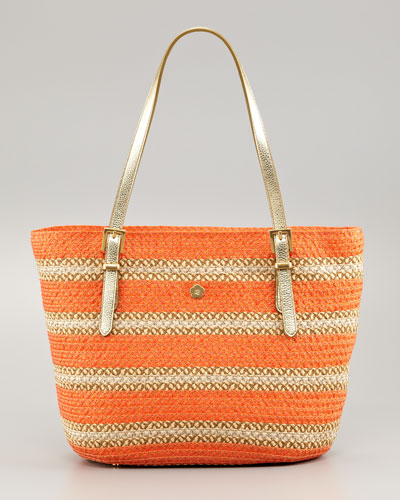 Jav Striped Squishee Tote Bag, Tangerine