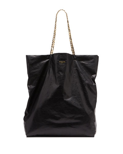Large Chain-Strap Lambskin Tote Bag, Black