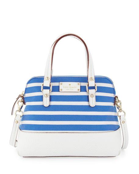 Grove Court Striped Maise Satchel Bag Azure Blue White