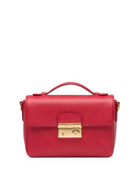 533619af151c48 Prada Saffiano Small Crossbody Bag, Red (Fuoco)