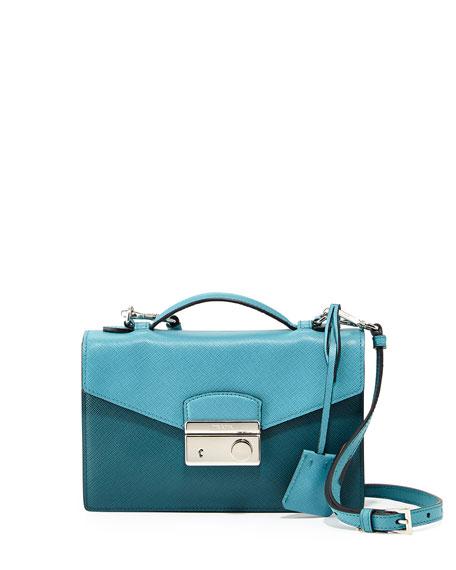 25b21579cc4b Prada Saffiano Bicolor Small Flap Crossbody Bag