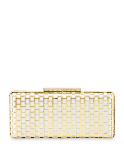 Minna Cage Clutch Bag, White/Gold