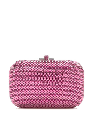 Crystal Slide-Lock Clutch Bag, Rose