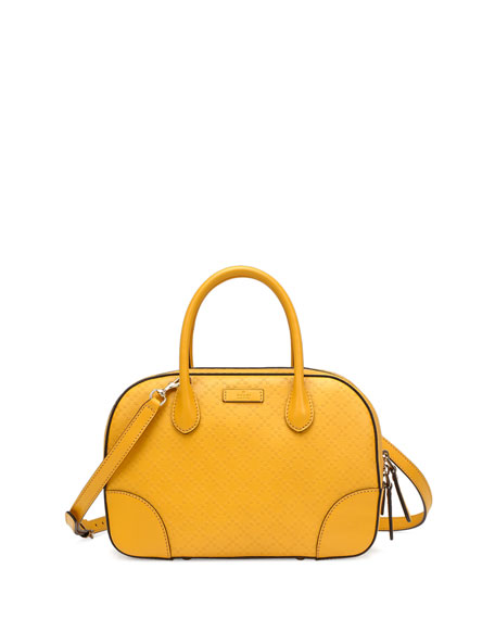 Bright Diamante Small Leather Bag Yellow