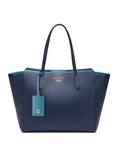 Medium Swing Tote Bag, Navy/Turquoise