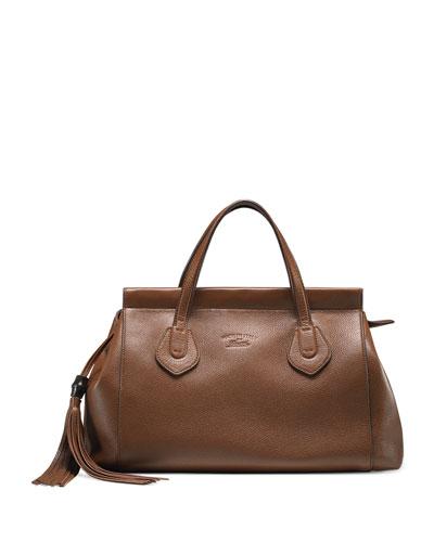 Lady Tassel Medium Leather Top Handle Bag, Brown