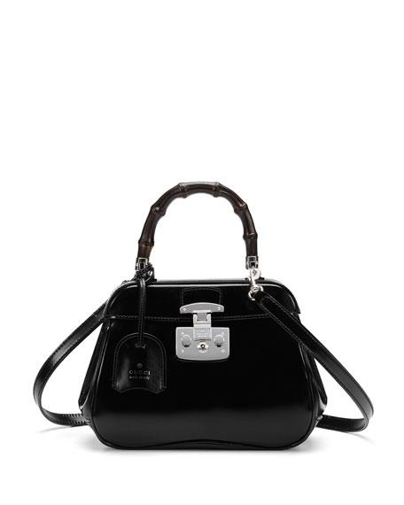 46a01f84ea2c Gucci Lady Lock Mini Leather Top Handle Bag, Black