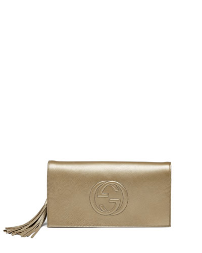 Soho Metallic Leather Clutch Bag, Gold