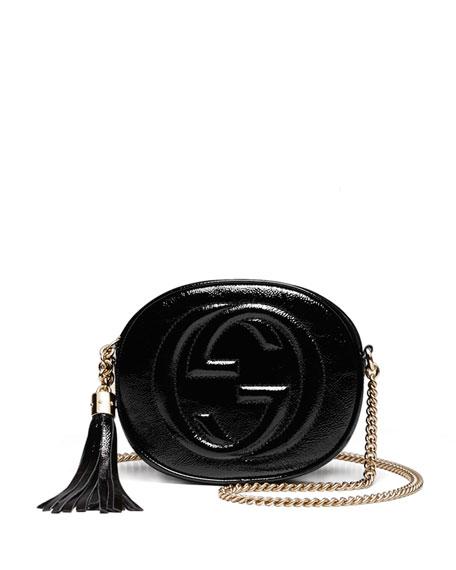 48df1b1e1c05 Gucci Soho Patent Leather Mini Chain Bag, Black