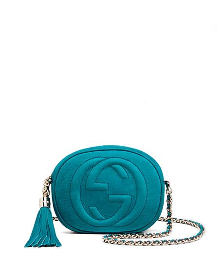 50896b003a35 Gucci Soho Nubuck Leather Mini Chain Bag, Turquoise