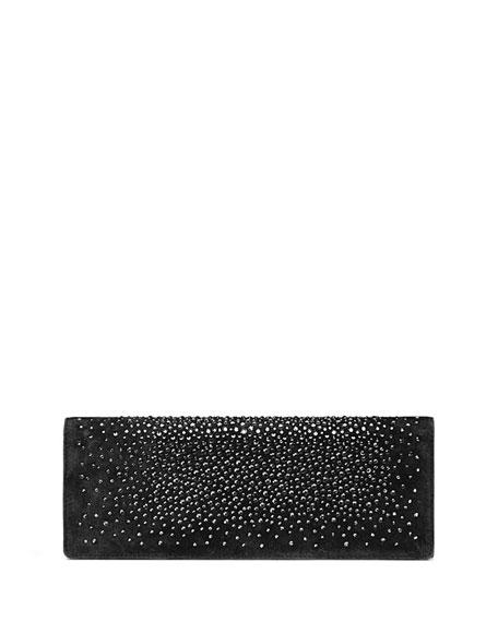 6258c14b0ff914 Gucci Broadway Suede Crystal Clutch Bag, Black