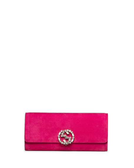 22bdd55fb6394b Gucci Broadway Suede GG Buckle Clutch Bag, Fuchsia