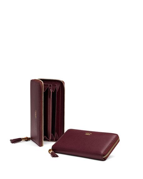 da3e924507a5 Gucci Bamboo Tassel Leather Zip Around Wallet, Burgundy