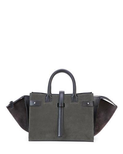 Parigi Bicolor Suede Duffel Bag, Gray/Black